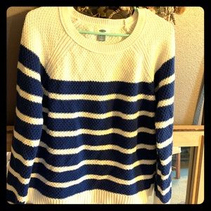 Blue and white striped knit sweater
